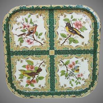 Vintage Daher England Metal Serving Tray with Birds