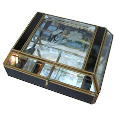 Vintage Etched Brass and Glass Hummingbird Trinket Jewelry Box