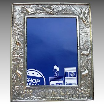 Victorian Silver Plate Picture Frame Herons Flamingos Ducks Birds