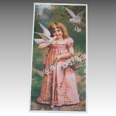 Vintage Girl with Doves Print from Germany