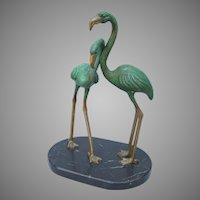 Art Deco Brass and Marble Flamingo Bronze
