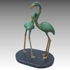 Art Deco Brass and Marble Flamingo Bronze