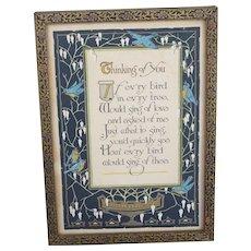 Vintage Framed Bluebird Thinking of You Poem