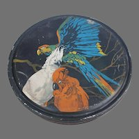 Vintage Art Deco Canco Tin with Parrot Cockatoo