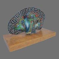 Very Rare Sascha Brastoff Mid Century Stylized Peacock Sculpture