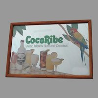 Coco Ribe Advertising Mirror with Macaw Parrot