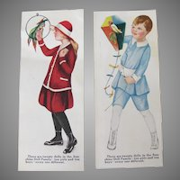 Vintage Sunshine Crackers Trade Cards Boy Girl Parrot Bird