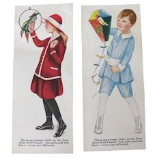 Vintage Sunshine Crackers Trade Cards Boy Girl Parrot Bird