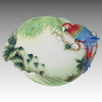 Limited Edition Franz Porcelain Rainforest Macaw Parrot Tray Platter
