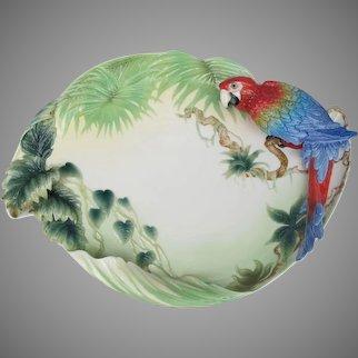 Limited Edition Franz Porcelain Rainforest Macaw Parrot Tray Platter
