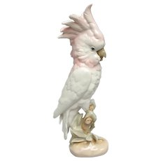 Majestic Royal Dux Pink Cockatoo Parrot Figurine