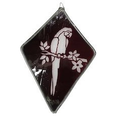 Vintage Ruby Red Macaw Parrot Stained Glass Panel