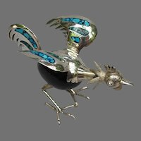 Vintage Sterling Turquoise Rooster Figure from Mexico