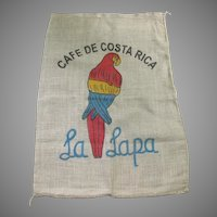 Vintage Coffee Beak Sack Bag with Parrot Motif