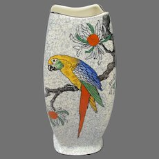 Vintage Regal Pottery Vase with Macaw Parrot