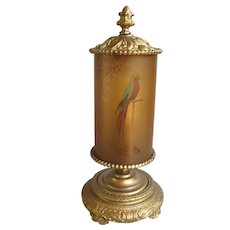 Art Deco Table Lamp Parrot Shade Cast Iron