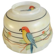Vintage Painted Parrot Ceiling Light Shade Glass