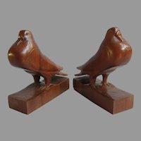 Vintage Folk Art Hand Carved Pigeon Dove Wood Bookends