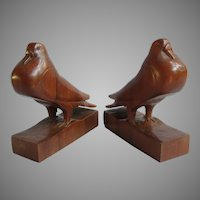 Vintage Folk Art Hand Carved Pigeon Dove Wood Bookends