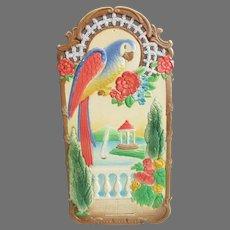 Vintage Parrot Embossed Calendar Top from Germany