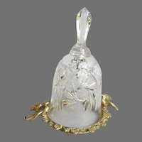 Vintage Cut Crystal Bell on Metal Stand with Birds