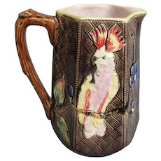 Antique Majolica Pitcher with Cockatoo Parrots