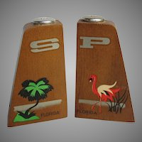 Mid Century Florida Wood Salt Pepper with Flamingo