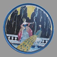 Peacock and Woman Art Deco Canco Tin
