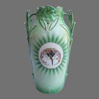 Vintage Czech Czechoslovakia Vase with Parrot Flowers