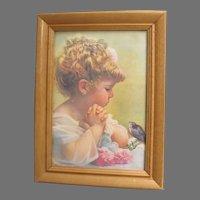 Vintage Little Girl with Bluebird Print, Springtime of Life, Bessie Pease Gutmann