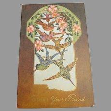Antique Hummingbird Forever Your Friend Postcard