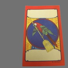 Vintage Broom Label with Parrot