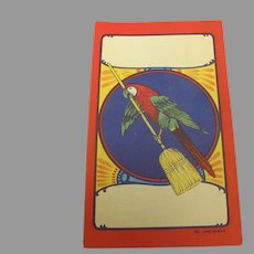 Vintage Broom Label with Parrot