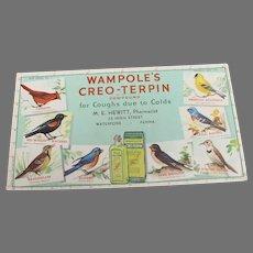 Vintage Creo-Terpin Ink Blotter with Birds