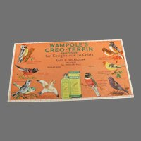 Wampole's Vintage Advertising Ink Blotter with Birds