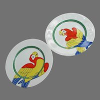 Vintage Fitz and Floyd Parrot In Ring Plates, Set of Two