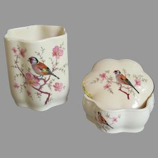 Vintage Royal Worcester European Goldfinch Dresser Set