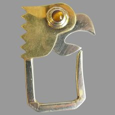 Vintage Silver Brass Parrot Key Holder with Tiger Eye Stone
