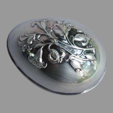 Vintage Wallace Silver Plate Egg Trinket Box