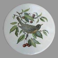 Vintage Robin with Cherries Porcelain Trivet