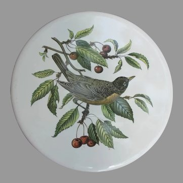 Vintage Robin with Cherries Porcelain Trivet