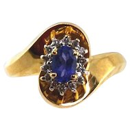 Tanzanite & Diamond Ladies Ring14kt Yellow Gold