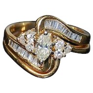 Diamond Engagement  Ring Set 14kt Two Tone Gold -5 1/2