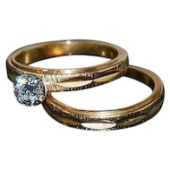 Diamond Engagement  Ring Set 14kt Two Tone Gold