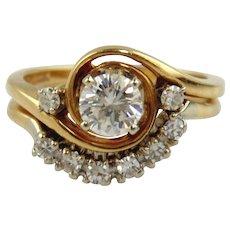 Diamond Engagement  Ring Set 14kt Two Tone Gold - Size 4