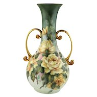 Hand Painted Porcelain Vase with Roses by Margaret Surber