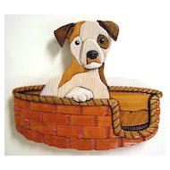 Wood Inlay Sculpture of a Jack Russell Puppy by David Penosky