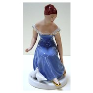 Royal Dux Porcelain Figurine - Seated Young Girl