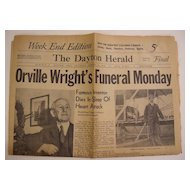 Dayton Herald Newspaper - Jan 31, 1948 - Orville Wright's Obituary