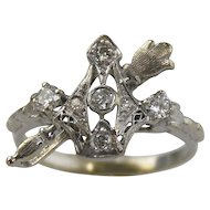 Diamond Filigree Ring14kt White Gold-Crown & Scepter